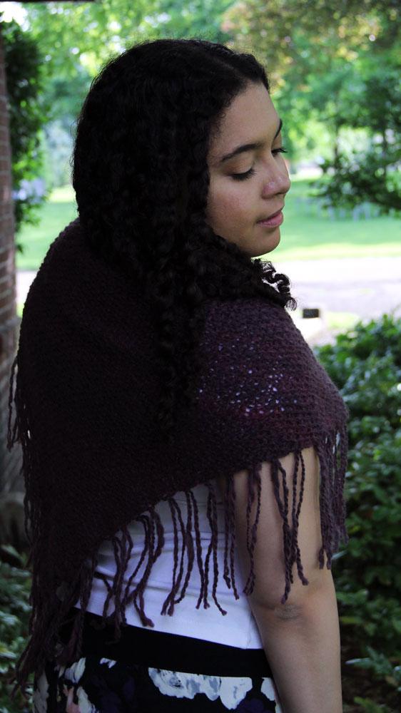 Worn as a classic shawl.